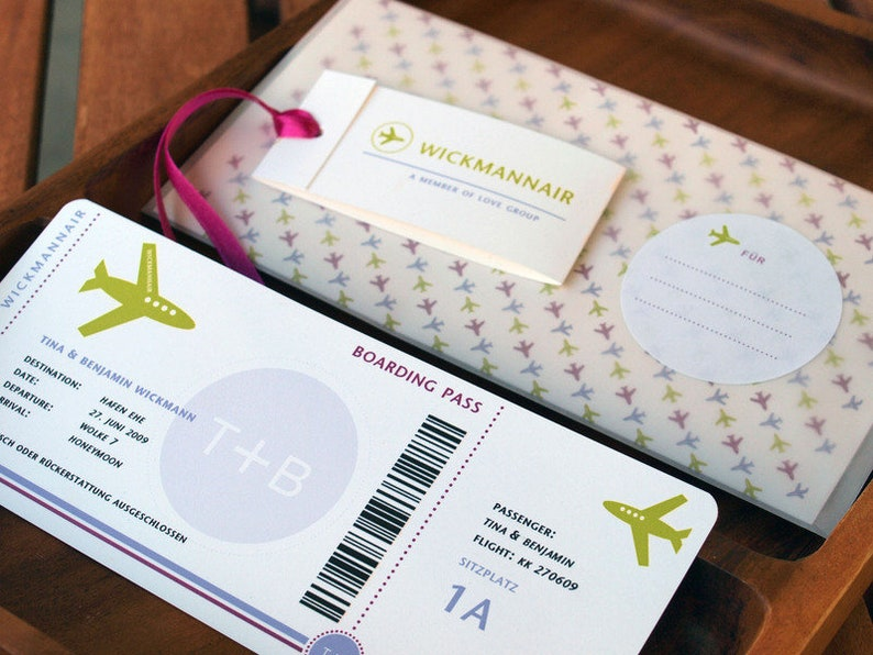 Money gift-Boarding pass-to the wedding card image 0