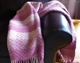 Handwoven Rose Wool Blanket