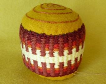 Handwoven Pincushion - Cinnamon Bun