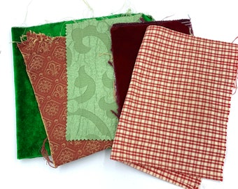 Sumptuous and homey fabrics in red and green, perfect for holiday crafting! Sachets,bottle bags, doll clothes or ornaments. Green velvet pie