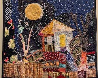 House Quilt Wallhanging Fiber Art