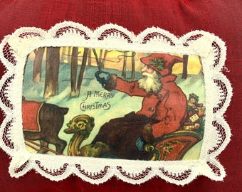 Vintage Santa postcard silk and balsam pillow