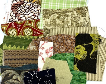 Eclectic mix of fabric swatches perfect for improv or landscape quilting! Browns, greens, and maroon.