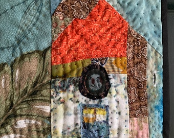 One of a kind HOUSE quilt Wallhanging