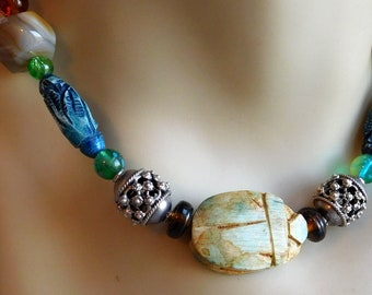 Egyptian Scarab Beaded Necklace - Carved Stone Beetle - Symbol of Manifestation - Eclectic Mix of Colorful Beads - 16-inch Chunky Necklace