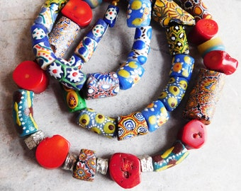 African Trade Bead and Red Coral Bead Necklace - Made from Old Beads - Chunky Tribal Boho Hippie Necklace - Murano Style Colorful Cane Glass