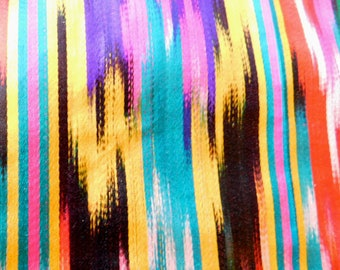 Vintage Ikat Silk Fabric 157 x 25 Inches - Very  Bright Colors - Uzbek or Indonesian? - Hot Pink, Yellow, Teal, Black, Lightweight