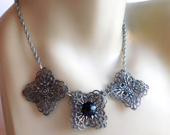 """Silvertone Metal Filigree Necklace Made from Vintage Pieces - Recreated Bib Necklace - Faceted Black Stone - 16"""" - Antique Finish"""