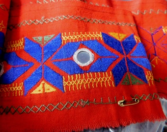Vintage Hand-Embroidered Trim from India - Shisha Tiny Mirrors - Bright Red Cotton Fabric, Blue, Yellow, Green Design - 3 Yards, 4-Inch Wide