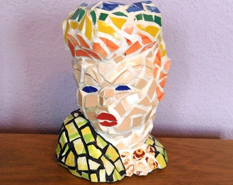 Mosaic Lady Head Vase - Made from 1950s Vintage Vase, Reclaimed Pottery Tesserae - Rainbow Hair - 7-Inch Vase - OOAK