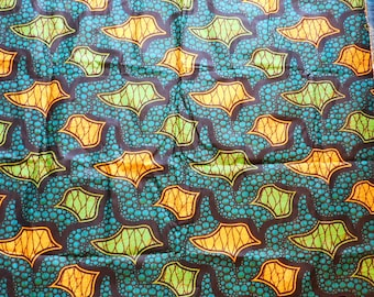 """Veritable Wax Block Fabric from Africa - 2.75 Yards x 45"""" Wide - Orange, Lime Green, Blue, Black - Cotton Printed Batik Inspired"""