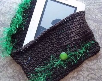 Crochet Kindle Cozy--chocolate brown and green, case for Kindle, Nook or other e-book reader