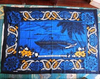 "Vintage Mombasa, Kenya, Souvenir Pictorial Printed Cotton Fabric - Night Scene with Ship, Gull, ""Karibu Mgeni Hakuna Matata"" - 63"" x 45"""