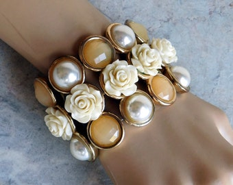 Wide Chunky Bracelet - Upcycled from Old Bracelet Bits - Faux Carved Bone Rosees - Faceted Glass, Faux Pearl Cabochons - 2+ Inches Wide