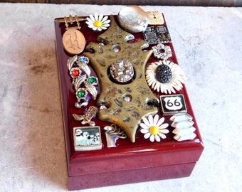 Assemblage Embellished Wooden Jewelry Box - Mix of Found Objects, Jewelry Bits, Rhinestones - For Necklace or Trinkets - Free Shipping