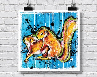 """Print 12x12"""" - Squirrel Hug - Squirrels Nature Spring Love Humor Funny Animals Critters Pop Art Signed"""
