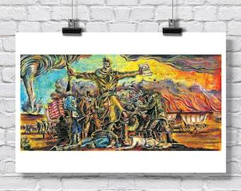 "Print 18x12"" - John Brown - Tragic Prelude Revisited - Bleeding Kansas Statehouse Abolitionist Signed Art"