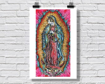 """Print 12x18"""" - Virgin Meowy - Mother Purresa Holy Peanut Religious Cat Guadalupe Cat Virgin Mary Cat Signed Art"""