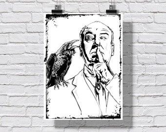 """Poster Print 18x24"""" - Alfred Hitchcock - Master of Suspense Film The Birds Horror Psycho Black and White Signed"""