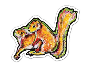 """Vinyl Sticker - Squirrel Hug (approx. 4.5 x 3.5"""") - Squirrels Nature Spring Love Humor Funny Animals Critters cute animals"""