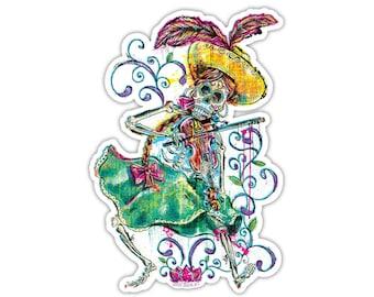 "Vinyl Sticker - Day of the Dead Día de Los Muertos Calavera Fiddle Player - (approx. 3 x 4.5"") Skeleton Halloween Fiddler Folk Art"