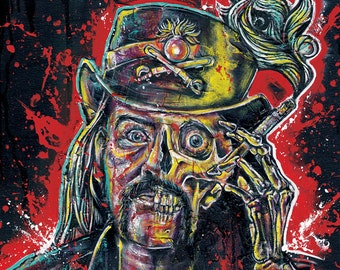 "Art Print  Poster 18 x 24"" - Lemmy Kilmister - Motorhead music rock and roll drugs tattoo pop art low brow skeleton skull"