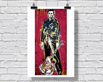 "12 x 18"" - Johnny Cash art print - Johnny Cash poster - country music art - country music poster - pop art poster - the man in black"