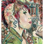 Steampunk Girl Protrait goggles gun steampunk punk science fiction  - Limited Edition  8.5 x 11 - High Quality Digital Print