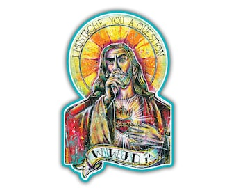 """Vinyl Sticker - Jesus - WWJD (approx. 2.7 x 4.125"""") - Religious Humor WWJD mustache funny jesus low brow"""