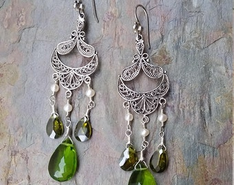 Forest Faerie sterling silver filigree chandelier earrings with freshwater pearls and emerald green hydroquartz