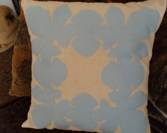 Tropical Hawaiian Quilt Design Baby Blue Wood Rose Felt Applique Pillow Cover 18 x 18 inches