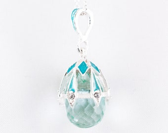 Aquamarine Blue Pendant, Sterling Silver Sky-Blue Enamel Faberge Egg Faceted Crystal Charm with Chain Necklace, Delicate Christmas Gift