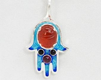 Hamsa with Scarab Carnelian Cameo Onyx and Garnet Necklace, Sterling Silver Blue Enamel Pendant Protection Jewelry Lucky Charm Talisman