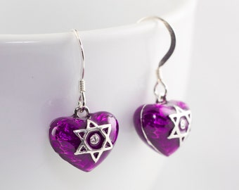 Jewish Earrings, Star of David on Purple Heart Judaica Earrings Small Heart w Star of David Sterling Silver Enamel Earrings Bat Mitzvah Gift