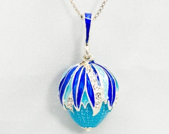 Sterling Silver Jewelry, Blue Egg Pendant Pine-Corn, Guilloche Enamel Jewelry Egg Pendant with Clear Crystals, Designer Charm, Birthday Gift