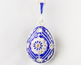 Blue Floral Pendant, Sterling Silver Festive Necklace Enamel Jewelry Egg Pendant with Crystals, Gift for Mom, Unique Artisan Pendant for Her