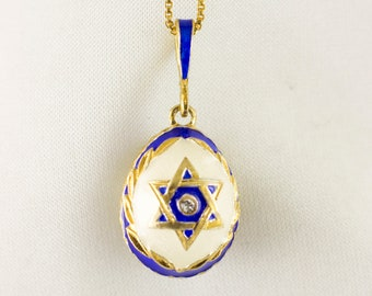 Star Of David  Necklace Jewish Pendant Magen David Jewish Star Necklace Sterling Silver Gold Plated Enamel Egg Pendant Jewish Jewelry Gift
