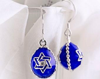 Blue Star of David Earrings Jewish Star Earrings Dangle Drop Judaica Magen David Earrings Sterling Silver Enamel Jewelry Jewish Gift for Her
