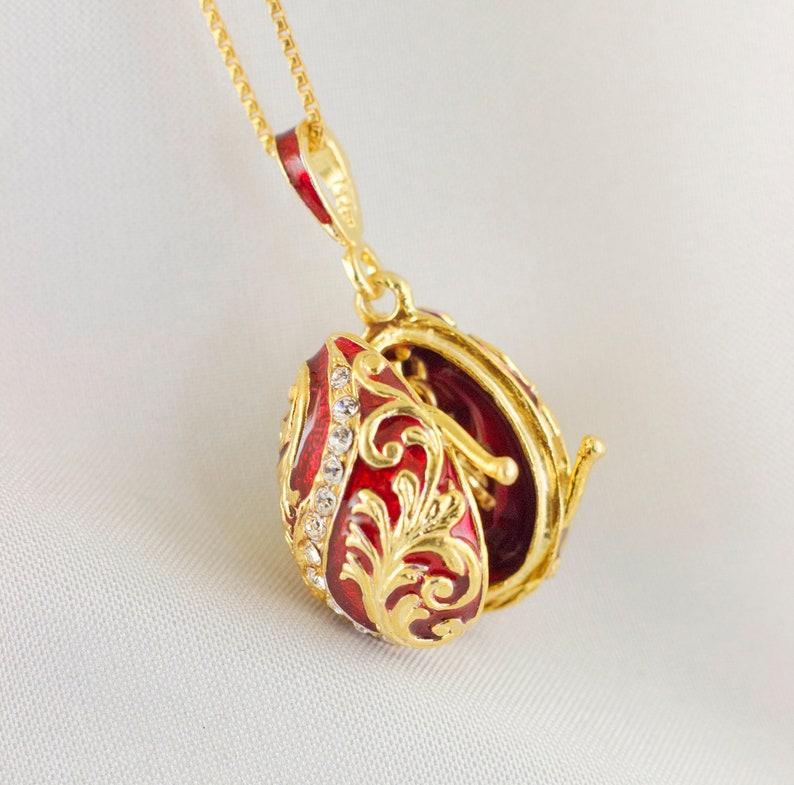 Rhinestones Enamel Jewelry Trinket Box Rich Red Faberge Egg with Gold Finish