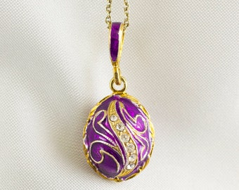 Purple Pendant Sterling Silver Enamel Egg Pendant, Miniature Egg Charm with Crystals, Gold Vermeil Necklace Birthday Gift, Jewelry for Women