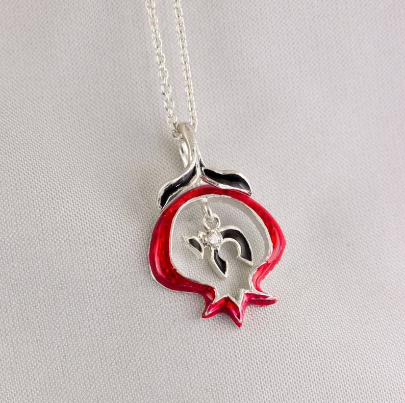 Red Pomegranate Pendant Chai Charm w Diamond Hebrew Necklace Life Luck Bat  Mitzvah Jewish Necklace Sterling Silver Judaica Jewelry