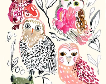 Owl Bunch Archival Archival Print