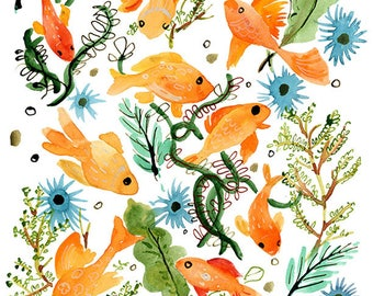 Goldfish and Seaweed Archival Print
