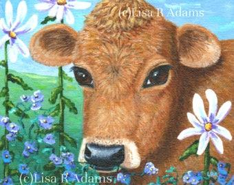 Red Cow Daisies Canvas Print Wall Art Creationarts
