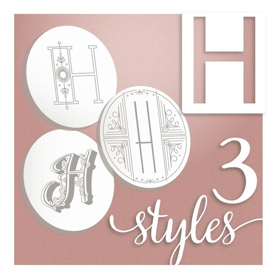 Modern Monograms Letter H Hand Embroidery Patterns In Three Etsy