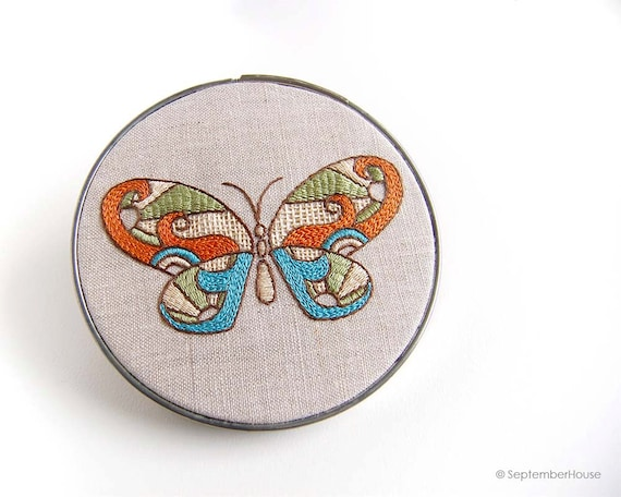 Hand Embroidery Patterns Kaleidoscope Butterfly Embroidery Etsy