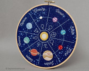 Hand Embroidery Patterns Solar Flair Space Themed Embroidery Patterns, Solar System, Planets, Astronaut DIY Download Embroidery Patterns