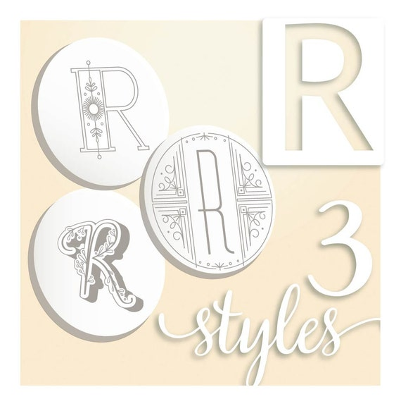 Modern Monograms Letter R Hand Embroidery Patterns In Three Etsy