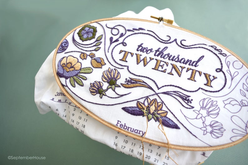 Embroidery Kit 2020 Calendar embroidery kit with matching image 0