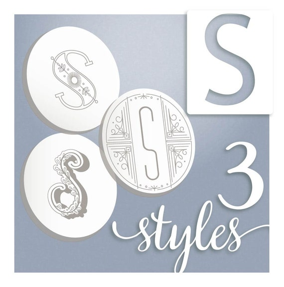 Embroidery Monogram Modern Monograms Letter S Hand Embroidery Etsy